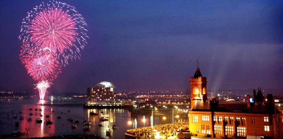 Skyfest Fireworks off St Davids Hotel, Cardiff
