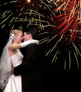 Bride Groom and Fireworks