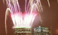Merlin Fireworks on the top of One Canada Square, Canary Wharf