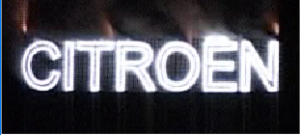 Firework setpiece depicting the name Citroen
